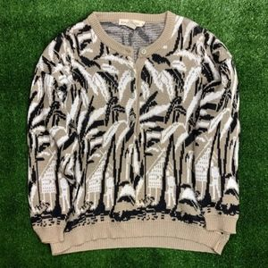 Vintage Palm Tree Print Pullover Sweater